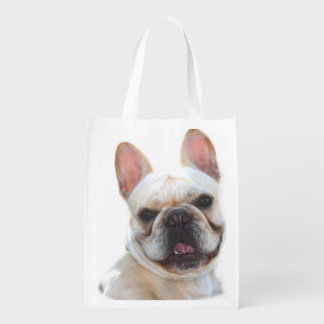 Happy French Bulldog Grocery Bag