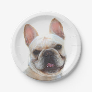 Happy French Bulldog Paper Plate