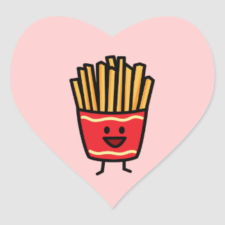 Happy French Fries Heart Sticker