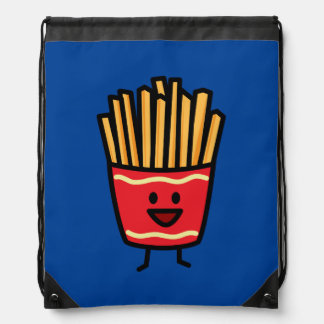 Happy French Fries Drawstring Backpacks
