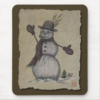 Happy Friendly Snowman Mouse Pad