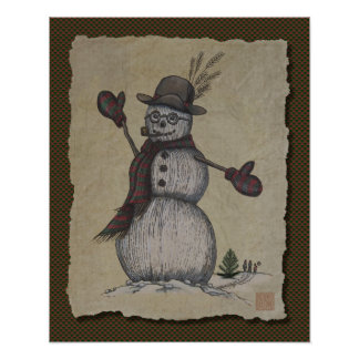Happy Friendly Snowman Poster