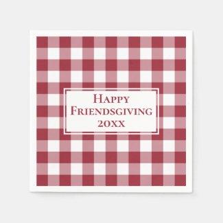 Happy Friendsgiving Name Burgundy Gingham Check Napkin