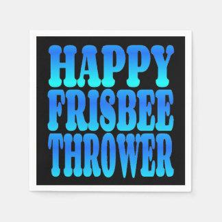 Happy Frisbee Thrower in Blue Paper Napkin