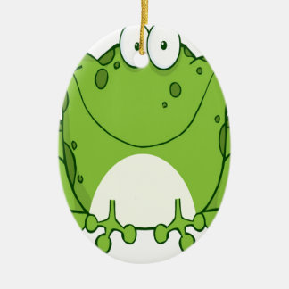 Happy Frog Cartoon Character Double-Sided Oval Ceramic Christmas Ornament