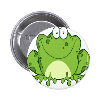 Happy Frog Cartoon Character Pinback Buttons
