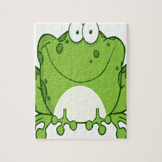 Happy Frog Cartoon Character Puzzle