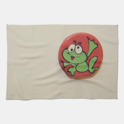 Happy frog cartoon towel