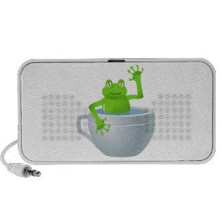 Happy frog in a cup cartoon laptop speakers