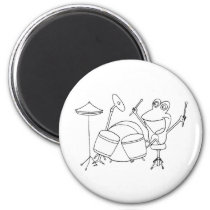 Happy Frog Playing Drums black line round magnet