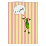 "Happy frog says  ""yippee""! Card"