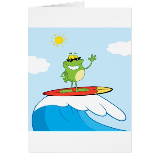 Happy Frog While Surfing Greeting Card