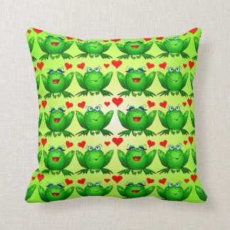 Happy Frogs Cartoon Love Hearts Green Throw Pillow