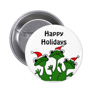Happy Frogs Christmas Cartoon Pinback Button