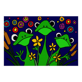 Happy Frogs Folk Art Poster Perfect Poster