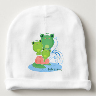 Happy Frogs Personalized Baby Beanie