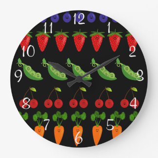 Happy Fruit and Veggie Rows Wall Clock