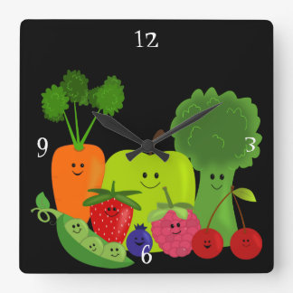 Happy Fruit and Veggies Wall Clock