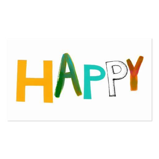 Happy fun colorful word art unique font design Double-Sided standard business cards (Pack of 100)