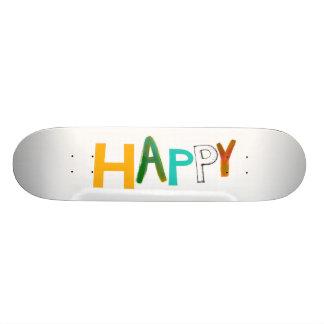 Happy fun colorful word art unique font design skateboard deck