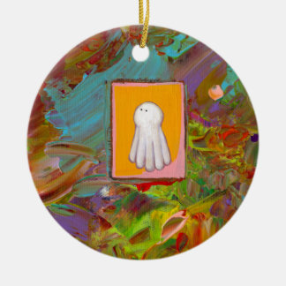 Happy fun ghost art colorful modern painting christmas ornaments