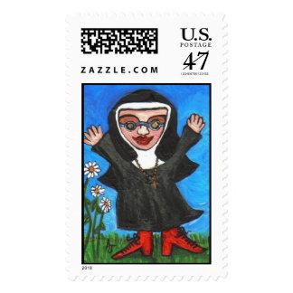 Happy Funky Preachin' Nun - postage