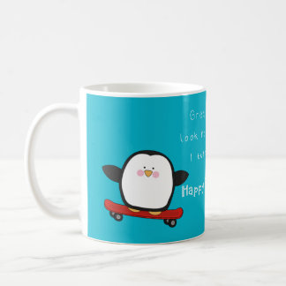 Happy funny fathers day with penguin coffee mug