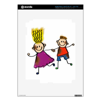 Happy Funny Kids Couple Drawing Doodle Cartoon Skin For iPad 3