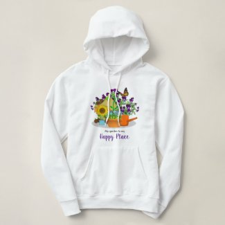 Happy Garden Flowers Summer White Hoodie