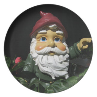 Happy Garden Gnome Melamine Plate
