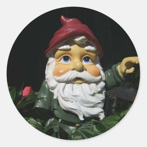 Happy Garden Gnome Round Sticker