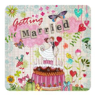 Happy Garden 5.25x5.25 Square Paper Invitation Card