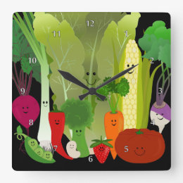 Happy Garden Produce Wall Clock