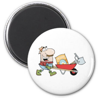 Happy Gardener Drives A Barrow With Tools 2 Inch Round Magnet