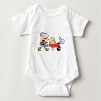 Happy Gardener Drives A Barrow With Tools Baby Bodysuit