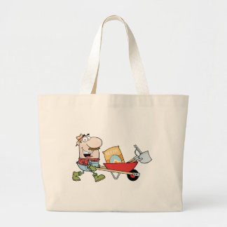 Happy Gardener Drives A Barrow With Tools Tote Bags