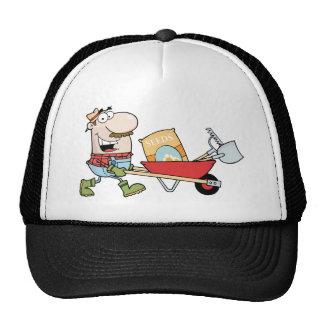 Happy Gardener Drives A Barrow With Tools Trucker Hat