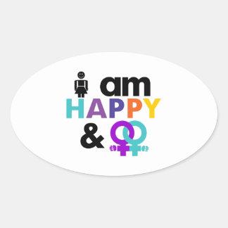 Happy Gay and Okay LGBT Oval Sticker
