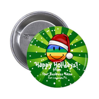 Happy Gay Lgbt Pride Flag Christmas Santa Button
