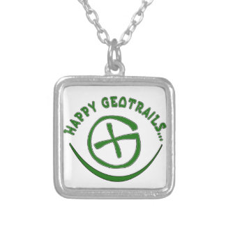 HAPPY GEOTRAILS - GEOCACHING MOTTO SILVER PLATED NECKLACE