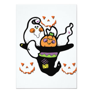 Happy Ghost and Pumpkin Buddies in a Hat Invitation
