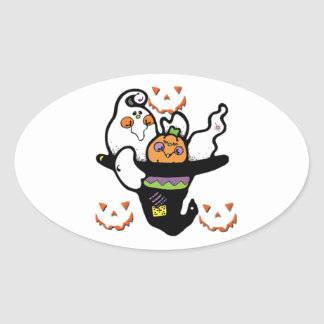Happy Ghost and Pumpkin Buddies in a Hat Oval Sticker