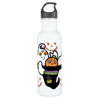 Happy Ghost and Pumpkin Buddies in a Hat Stainless Steel Water Bottle