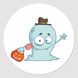 Happy Ghost Goes Trick Or Treating Classic Round Sticker