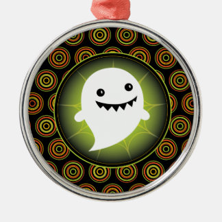 Happy Ghost Halloween Metal Ornament