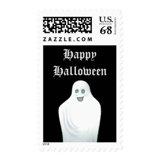 Happy Ghost Halloween Postage Stamp