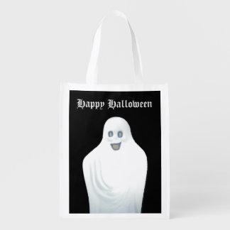 Happy Ghost Halloween Reusable Grocery Bag