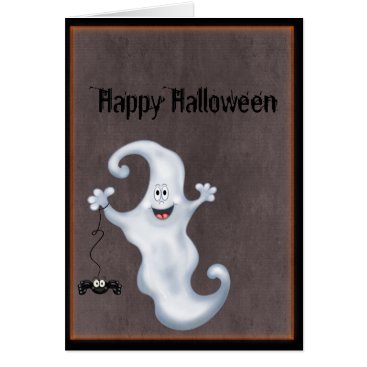 Halloween Themed Happy Ghost with Spider Halloween Card