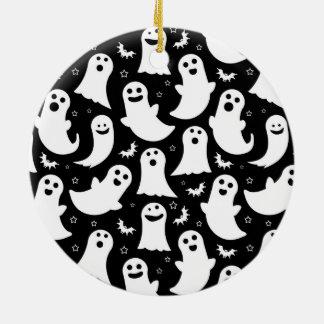 Happy Ghosts Pattern Ceramic Ornament