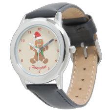 Happy Gingerbread Boy With Santa Hat Wristwatch